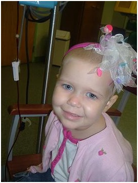 Adelaine at the begining of her blood transfusion